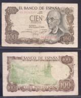 ESPAÑA - BILLETE DE CIEN 100 PESETAS - MANUEL DE FALLA, 1970 - ERROR - REVERSO FONDO VERDE - [ 3] 1936-1975 : Regime Di Franco