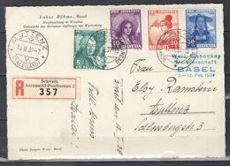 Reccomandée Postkarte Van Schweiz Automobil Postbureau Naar Mutten (Baselland) - Zwitserland