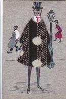 AK Mann In Umhang Und Zylinder - Stoff Auf Karton Und Zeichnung - Iserlohn 1906 (44491) - Ansichtskarten
