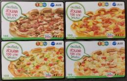4 Mobilecards Thailand - 12Call / AIS - Werbung - Pizza - Thailand