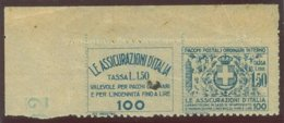 ITALIA REGNO VITTORIO EMANUELE III SASS.  FRANCOBOLLO ASSICURATIVO 9   NUOVO - 1900-44 Victor Emmanuel III.