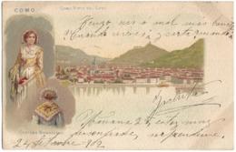 ANTIGUA POSTAL ITALIA - 1902 -  COMO VISTA DEL LAGO - TRAJE REGIONAL COSTUME BRIANZUOLO - CIRCULADA - Como