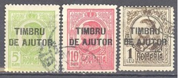 Roumanie: Yvert N° 232/235°; 3 Valeurs - 1881-1918: Charles Ier