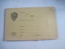 Ancien Cahier D'école Ville De PARIS 1964 - Old Paper