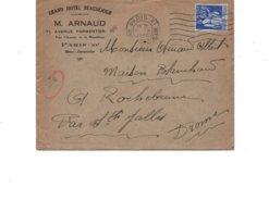 LAC 1938 - Entête  GRAND HOTEL BEAUSEJOUR - M.ARNAUD à PARIS XI / Au Dos Cachet Perlé  SAINTE JALLE (Drome) Indice 8 - 1921-1960: Moderne