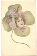 KANTNER - Illustrateur  VIENNOISE - VISAGE FEMME TRÈFLE FAISANT CHAPEAU  H S W Série 1- SURRÉALISME- DOS SIMPLE - Künstlerkarten