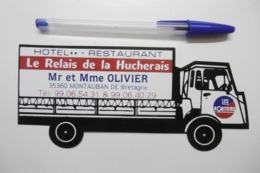 """Autocollant Stickers ROUTIER Camion """"Hôtel Restaurant RELAIS De La HUCHERAIS"""" MONTAUBAN DE BRETAGNE 35 ILLE ET VILAINE - Autocollants"""