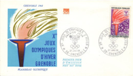FRANCE 1545 FDC 1er Jour Jeux Olympiques Hiver Grenoble Flamme Flambeau 1968  [GR] - Winter 1968: Grenoble