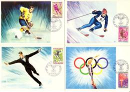 FRANCE 1544 à 1547 FDC 1er Jour Carte Postale Jeux Olympiques Hiver Grenoble Flamme Flambeau 1968  [GR] - Winter 1968: Grenoble