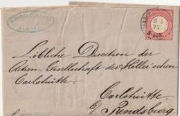 PIEGO DA HAMBURG A RENDSBURG DEL 6.3.1873 CON FRANCOBOLLO DA 1 Gr. - CATALOGO MICHEL NUMERO 17 - Germany