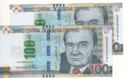 PERU   (error Notes) 2 X 100 Soles (Mismatched Serial Nr.  .....488L & 478L & 489L  & 479L  ) 19.2.2015 Pnew UNC - Peru