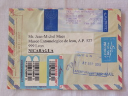 Israel 2013 Registered Cover To Nicaragua Sent By Mistake To Canada - Machine Franking - Israel