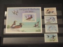 ANTIGUA - 1987 UCCELLI 4 VALORI + BF - NUOVI(++) - Antigua E Barbuda (1981-...)