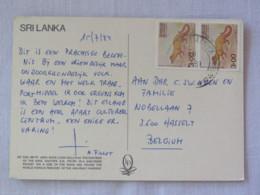"Sri Lanka 1984 Postcard ""Sigiriya Lion Hill Nude Women Frecoes"" To Belgium - Animals Palm Cat - Sri Lanka (Ceylon) (1948-...)"