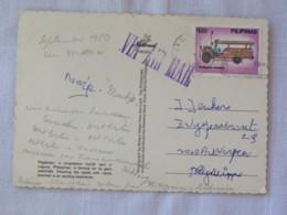 "Philippines 1980 Postcard ""waterfalls Pagsanjan"" To Belgium - Jeepney Public Jeep Car - Filipinas"