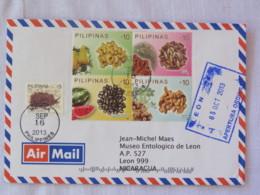 Philippines 2013 Cover To Nicaragua - Fruits Seeds - Sea Slug ? - Filipinas