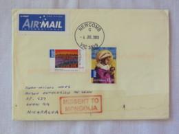 Australia 2013 Cover To Nicaragua - Christmas - Missent To Mongolia - Cartas