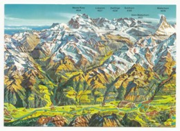 Switzerland - Kanton Wallis - Rhonetal-Simplon-Saastal-Mattertal-Turtmanntal-Val D'Anniviers (Landkarte) - Landkaarten