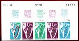 Comoro Islands 1969 #77, Color Proof Stripe Of 5, Msoila Prayer Rug, Handicraft - Comores (1975-...)