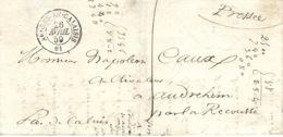 1859- Lettre De Ardres-en-Calaisis ( Pas De Calais ) Cad T15  Taxe 1 D - 1801-1848: Voorlopers XIX