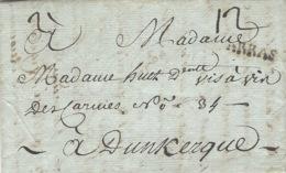 1784 - Lettre D'ARRAS ( Pas De Calais ) Lenain N°12  Taxe 12 Sous Pour Dunkerque - - Marcophilie (Lettres)
