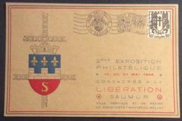 CM227-1 Saumur  Expo Philatélique Les Cadets Libération Croix Verte Montreuil Bellay 5/1945 Carte Maximum T 670 Et 676 - 1940-49