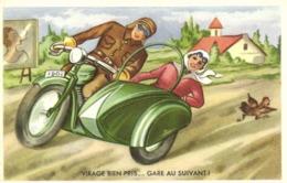 Illustrateur Side Car VIRAGE BIEN PRIS ..GARE AU SUIVANT ! RV - Humour