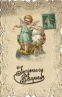 Illustrateue Joyeuses Paques Ajoutis Petit Ange Portant Des Oeufs Sur Un Char Decor Broderies RV - Anges