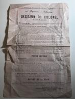 158e Regiment D'Infanterie - Décision Du Colonel 29 Juin 1914 - Documents