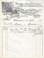 Facture Lettre 1909 - CALLIER & DEGOIS à DRAGUIGNAN (83) Glace, Sirop Eau Bière - Pas Carte Postale - - Manosque