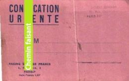 02/05/1948 Convocation Urgente CONSTANTINOWITCH Football Du RCF Racing Club De France Contre MARSEILLE à COLOMBES - Fútbol