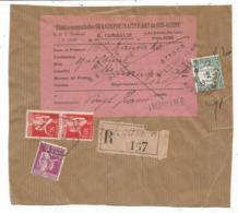 TAXE 1FR TOULOUSE DEVANT COLIS REC OPR CONTRE REMBOURSEMENT PAIX 50CX2+40C  TOULOUSE AA 1935 - Storia Postale