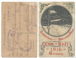 GERMANY POSTKARTE MEILLEURS VOEUX NOEL XMAS 1916 GIESSEN POUR ST PONT FRANCE - Postmark Collection (Covers)