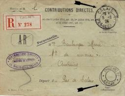 1924-enveloppe PRECC. Des Impôts De CALAIS ( Pas De Calais)  Avec Cad  IMPRIMES  P P  * ARRAS * - Marcofilia (sobres)