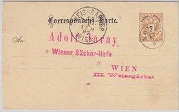 Österreich - Vorau 1887 Fingerhut-K1 2 Kr. Ganzsache N. Wien  - Steiermark - Enteros Postales