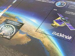 UAE 2019 First Emirati Satellite Stamp SS Embossed Rocket Space Apollo - Emirati Arabi Uniti