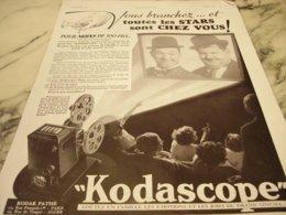 ANCIENNE PUBLICITE LAUREL ET HARDY CHEZ NOUS KODASCOPE   1936 - Photography