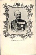 Passepartout Cp Roi Georg Von Sachsen, Portrait In Uniform, Orden - Royal Families