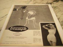 ANCIENNE PUBLICITE  LIGNE LA PLUS JEUNE  TRIUMPH 1960 - Vintage Clothes & Linen