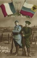 Militaria Patriotique Frères D'Atmes Francais Russe Drapeaux - Patriottiche