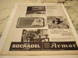 ANCIENNE   PUBLICITE A TOUT SENIOR  RADIO SOCRADEL  ARMOR 1960 - Music & Instruments