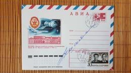 Autogramm Kosmonaut Schatalow, Sojus 8, Ganzsache - UdSSR