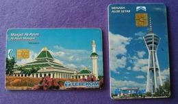 Malaysia Telekom Chip Phonecard Mosque Telecom Tower . 2 Cards - Maleisië