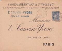 Enveloppe Sage 15 C Bleu J94 Repiquage Yvose Oblitérée - Entiers Postaux