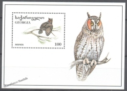 Georgie - Georgia 1996 Yvert BF 9, Fauna. Night Raptors - Owls  - Miniature Sheet - MNH - Georgia