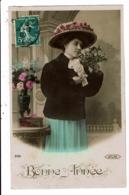 CPA-Carte Postale-FRANCE  Bonne Année Une Femme Et Son Chapeau Fleuri En 1909 VM7990 - Nouvel An