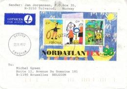 Féroé - Lettre De 1997 - Oblit Skuvoy - Dessins D'enfants - Islas Faeroes