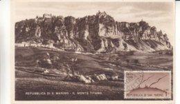 Saint Marin - Carte Postale De 1949 - Oblit Républica Di San Marino - Carte Maximum  ? - Briefe U. Dokumente