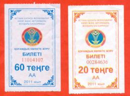 Kazakhstan 2011. City Astana(moderne Nur-Sultan).Two Tickets For Bus. - Busse