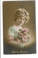 CPA-Carte Postale-FRANCE-Bonne Année-une Jeune Femme Avec Des Boucles Dans Ses Cheveux  En 1917  VM7994 - Nouvel An